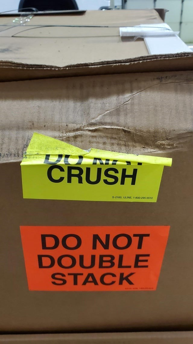 Text - CRUSH S-2160, ULINE, 1-800-295-5510 DO NOT DOUBLE STACK