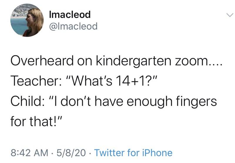 "Text - Imacleod @lmacleod Overheard on kindergarten zoom... Teacher: ""What's 14+1?"" Child: ""I don't have enough fingers for that!"" 8:42 AM - 5/8/20 · Twitter for iPhone"