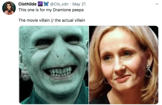 Face - @Clo_vdn · May 21 This one is for my Dramione peeps Clothilde The movie villain |/ the actual villain