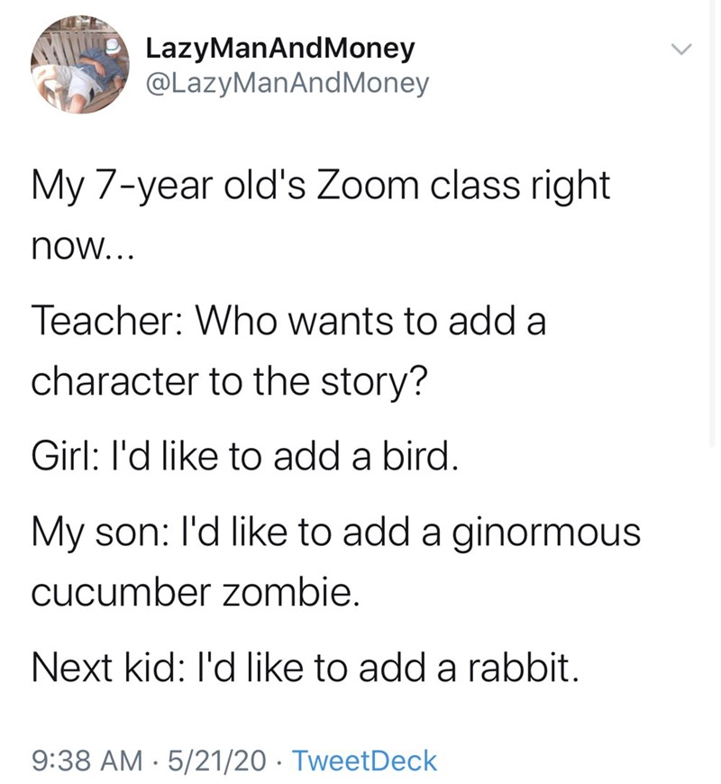 Text - LazyManAndMoney @LazyManAndMoney My 7-year old's Zoom class right now... Teacher: Who wants to add a character to the story? Girl: l'd like to add a bird. My son: l'd like to add a ginormous cucumber zombie. Next kid: l'd like to add a rabbit. 9:38 AM · 5/21/20 · TweetDeck