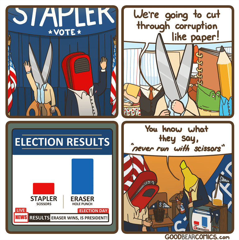 "Label - We're to cut going through corruption like paper! * VOTE * You know what they say, never run with scissors"" ELECTION RESULTS STAREA STAPLER ERASER S Su SCISSORS HOLE PUNCH ELECTION DAY LIVE NEWS RESULTS ERASER WINS, IS PRESIDENT! GOODBEARCOMICS.com"