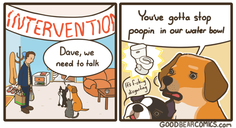Cartoon - NTERVENTIO poopin You've gotta stop in our water bowl Dave, we need to talk disgusting GOODBEARCOMICS.com