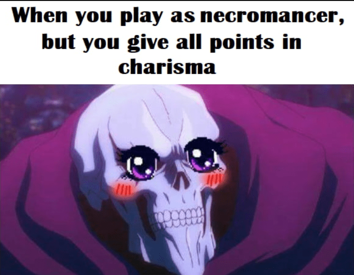 Cartoon - When you play as necromancer, but you give all points in charisma