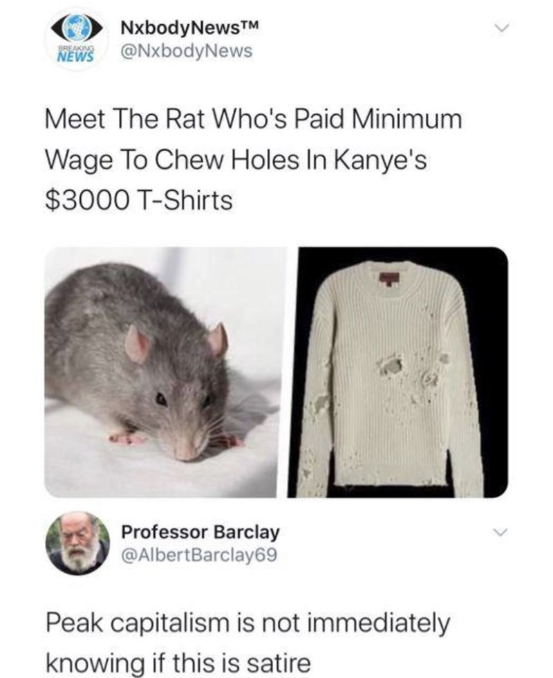 Rat - NxbodyNewsTM @NxbodyNews BREAKING NEWS Meet The Rat Who's Paid Minimum Wage To Chew Holes In Kanye's $3000 T-Shirts Professor Barclay @AlbertBarclay69 Peak capitalism is not immediately knowing if this is satire
