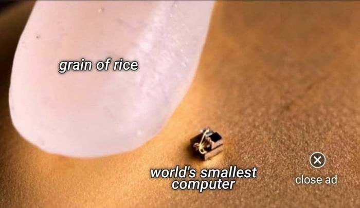Skin - grain of rice (X) world's smallest сomputer close ad