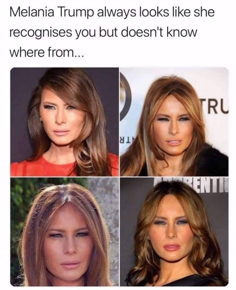 Hair - Melania Trump always looks like she recognises you but doesn't know where from... TRU TR ENTI