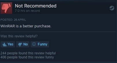 Text - Not Recommended 7.0 hrs on record POSTED: 26 APRIL WinRAR is a better purchase. Was this review helpful? Yes No O Funny 244 people found this review helpful 406 people found this review funny