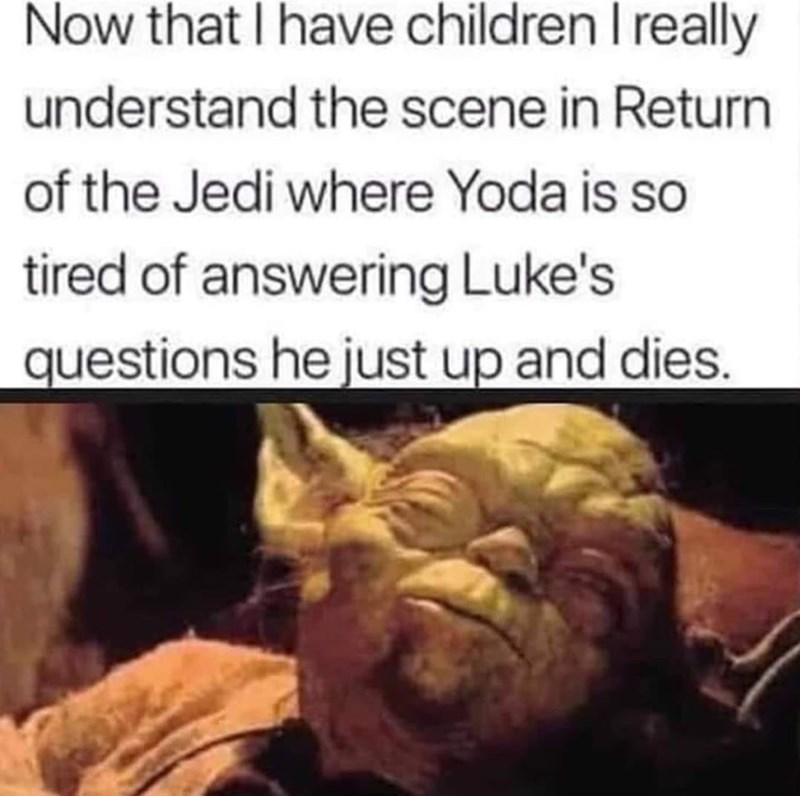 Facial expression - Now that I have children I really understand the scene in Return of the Jedi where Yoda is so tired of answering Luke's questions he just up and dies.