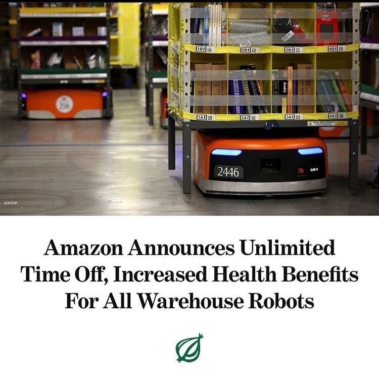 Product - 181 E 281 3B 2 481 25 2A1 3AT AAT 2446 Amazon Announces Unlimited Time Off, Increased Health Benefits For All Warehouse Robots