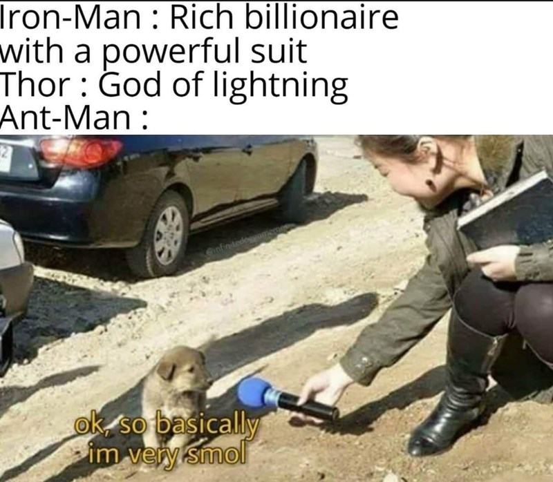 Vehicle door - Iron-Man : Rich billionaire with a powerful suit Thor : God of lightning Ant-Man: Cinfinitedoggo ok so basically im very smol