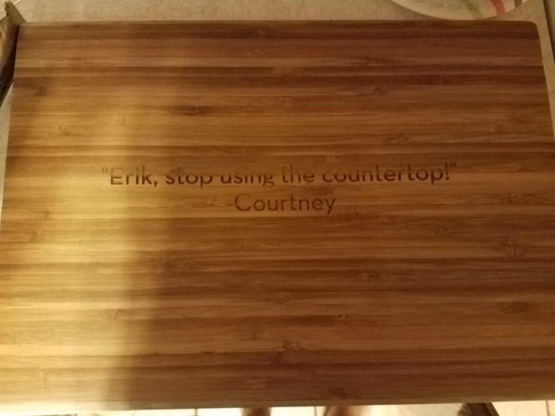 "Wood - ""Erik, stop using the countertop!"" Courtney"