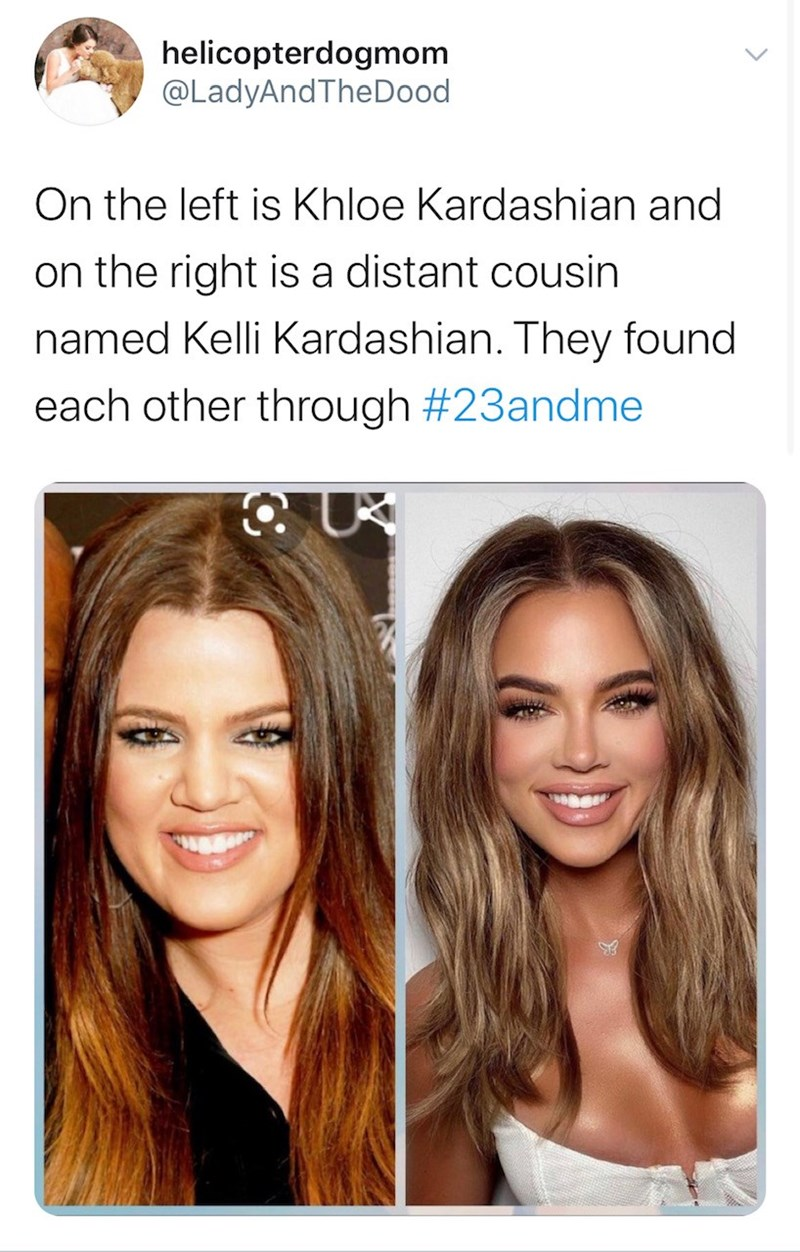 Hair - helicopterdogmom @LadyAndTheDood On the left is Khloe Kardashian and on the right is a distant cousin named Kelli Kardashian. They found each other through #23andme >