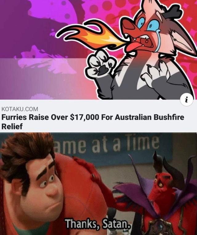 Cartoon - i КОТАKU.COM Furries Raise Over $17,000 For Australian Bushfire Relief ame at a lime Thanks, Satan,