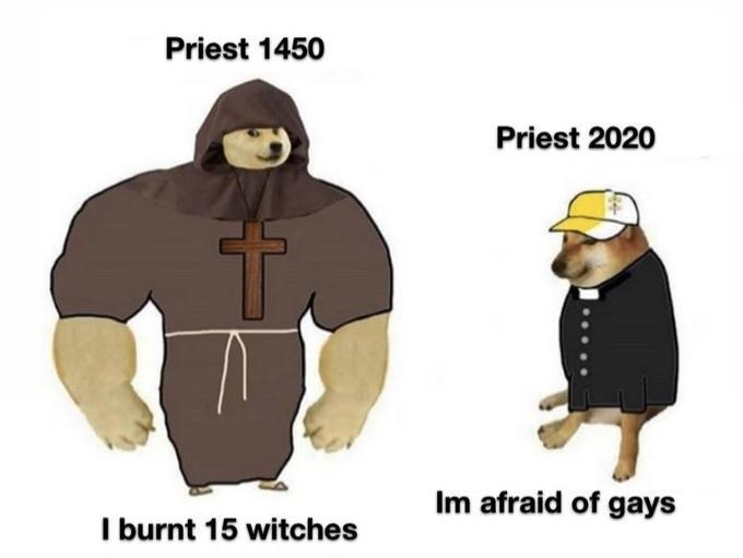 Cartoon - Priest 1450 Priest 2020 Im afraid of gays I burnt 15 witches