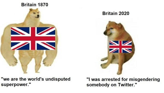 "Shiba inu - Britain 1870 Britain 2020 ""we are the world's undisputed superpower."" ""I was arrested for misgendering somebody on Twitter."" ZN"