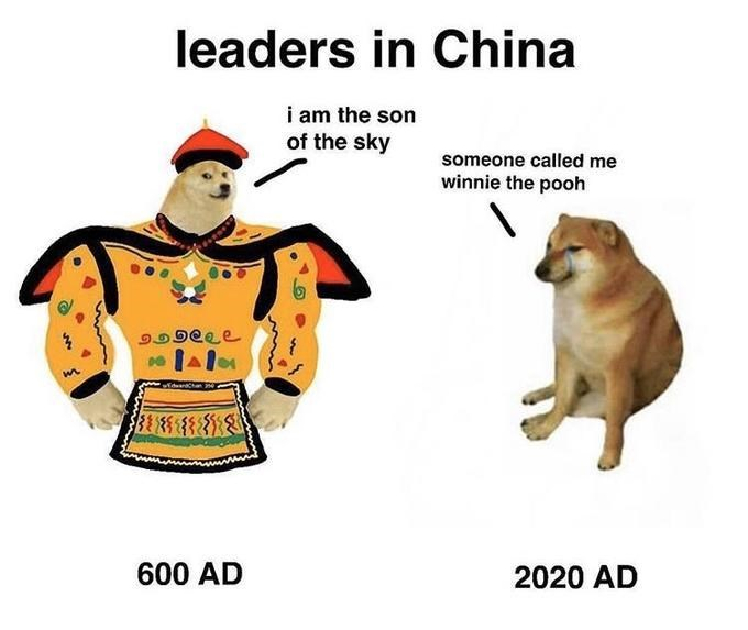 Cartoon - leaders in China i am the son of the sky someone called me winnie the pooh 600 AD 2020 AD