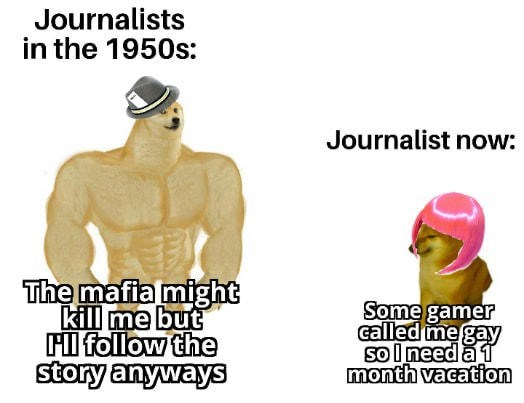 Arm - Journalists in the 1950s: Journalist now: The mafia might kill me but Fl follow the story anyways Some gamer called me gay sol need a 1 month vacation