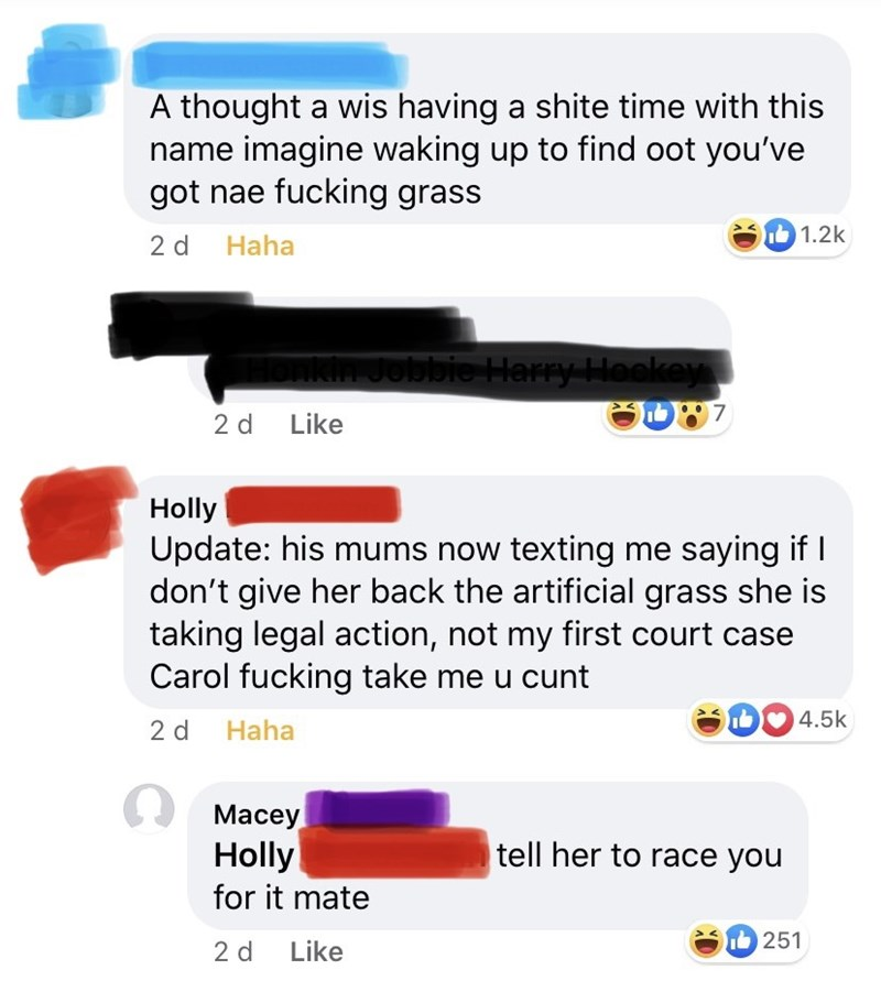 Text - A thought a wis having a shite time with this name imagine waking up to find oot you've got nae fucking grass 2 d Haha I 1.2k Jobbie Harry Heokey 2 d Like Holly Update: his mums now texting me saying if I don't give her back the artificial grass she is taking legal action, not my first court case Carol fucking take me u cunt 4.5k 2 d Haha Macey Holly tell her to race you for it mate 2 d Like 251