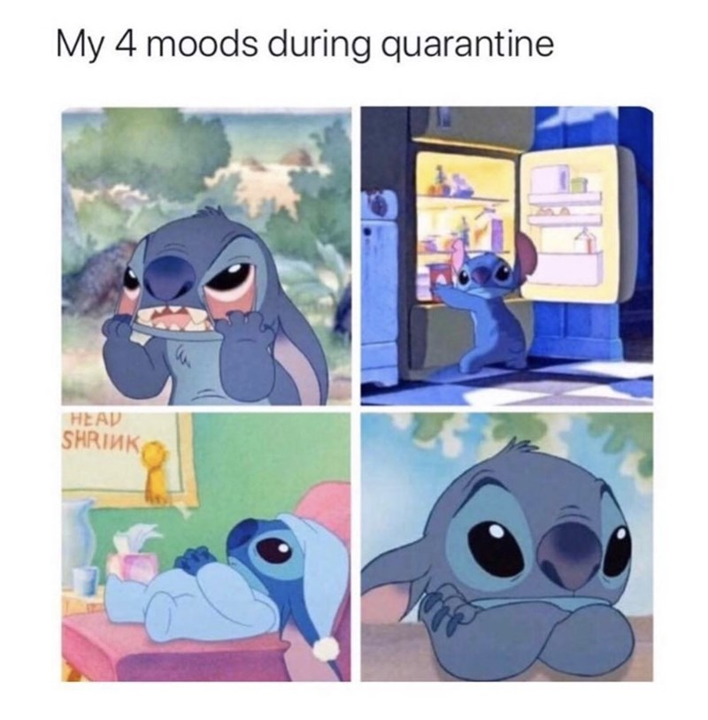 Cartoon - My 4 moods during quarantine HEAD SHRINK