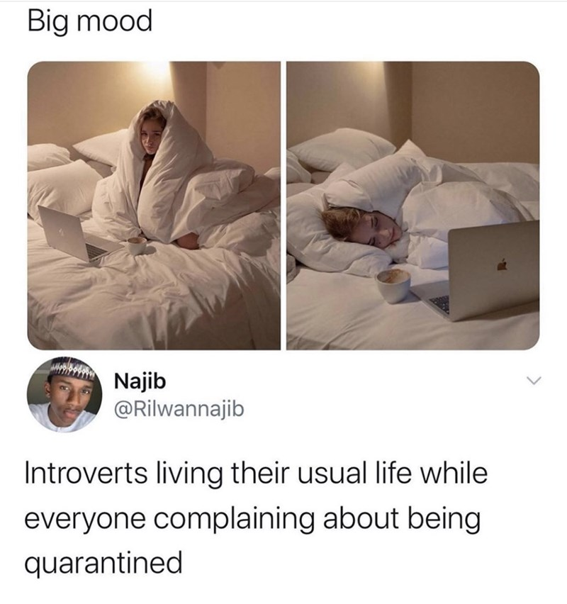 Product - Big mood Najib @Rilwannajib Introverts living their usual life while everyone complaining about being quarantined
