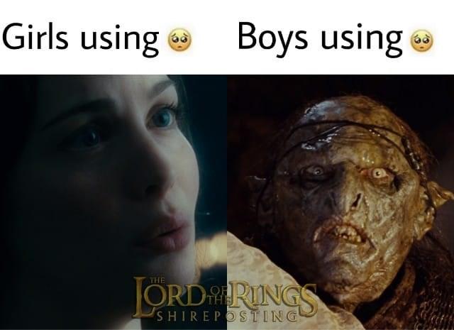 Face - Girls using e Boys using THE ORDRINGS THE SHIREPOSTING