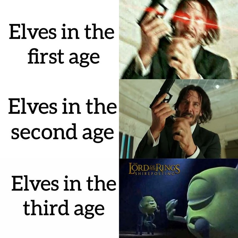 Text - Elves in the first age Elves in the second age JORD RINGS THE SHIREPOSTING Elves in the third age