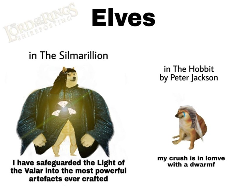 Organism - ORDSERINGS SHIREPOSTING Elves in The Silmarillion in The Hobbit by Peter Jackson I have safeguarded the Light of the Valar into the most powerful my crush is in lomve with a dwarmf artefacts ever crafted