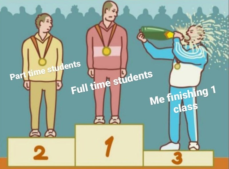 Cartoon - Part time students Full time students Me finishing 1 class 2 1