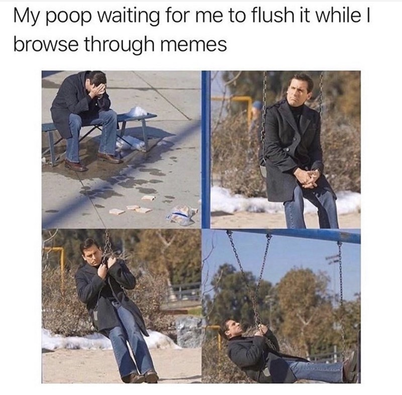 Denim - My poop waiting for me to flush it while I browse through memes