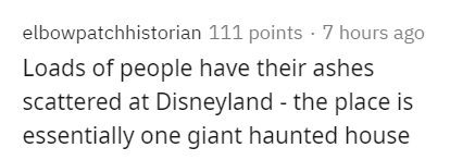 Text - elbowpatchhistorian 111 points - 7 hours ago Loads of people have their ashes scattered at Disneyland - the place is essentially one giant haunted house
