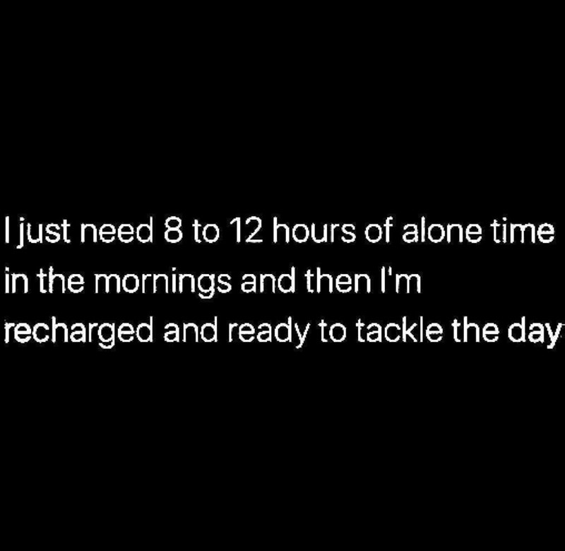 Text - I just need 8 to 12 hours of alone time in the mornings and then I'm recharged and ready to tackle the day