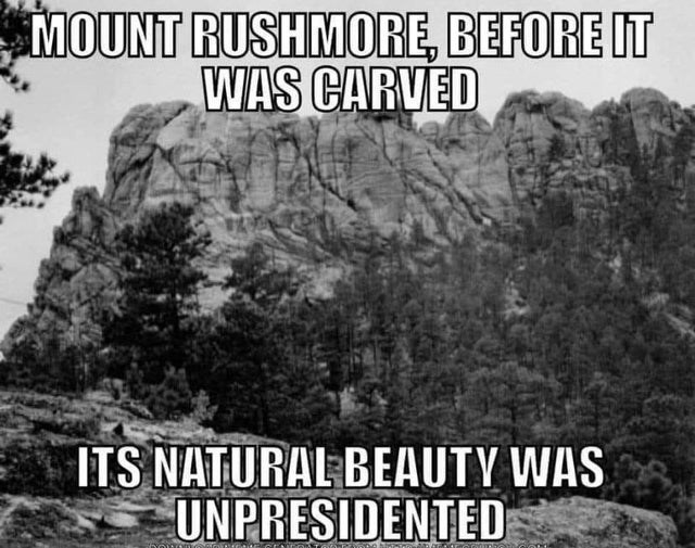 Text - MOUNT RUSHMORE, BEFORE IT WAS CARVED ITS NATURAL BEAUTY WAS UNPRESIDENTED