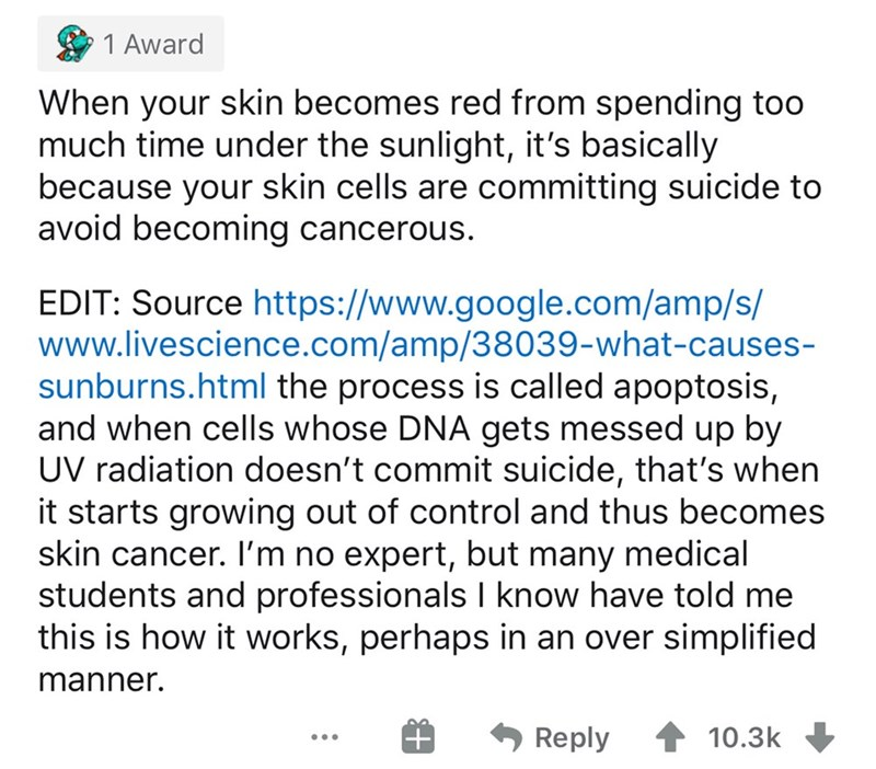 Text - 1 Award When your skin becomes red from spending too much time under the sunlight, it's basically because your skin cells are committing suicide to avoid becoming cancerous. EDIT: Source https://www.google.com/amp/s/ www.livescience.com/amp/38039-what-causes- sunburns.html the process is called apoptosis, and when cells whose DNA gets messed up by UV radiation doesn't commit suicide, that's when it starts growing out of control and thus becomes skin cancer. I'm no expert, but many medical