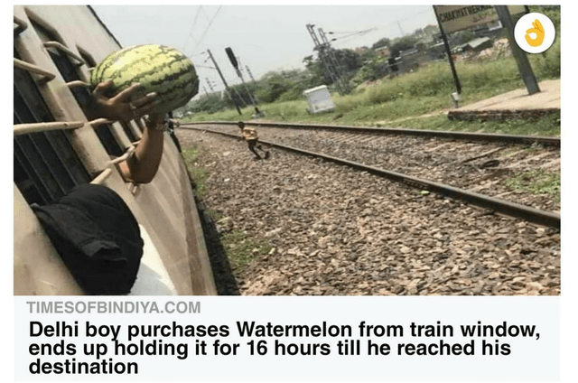 Transport - CHACHATHER TIMESOFBINDIYA.COM Delhi boy purchases Watermelon from train window, ends up holding it for 16 hours till he reached his destination