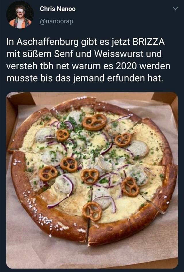 Dish - Chris Nanoo @nanoorap In Aschaffenburg gibt es jetzt BRIZZA mit süßem Senf und Weisswurst und versteh tbh net warum es 2020 werden musste bis das jemand erfunden hat.