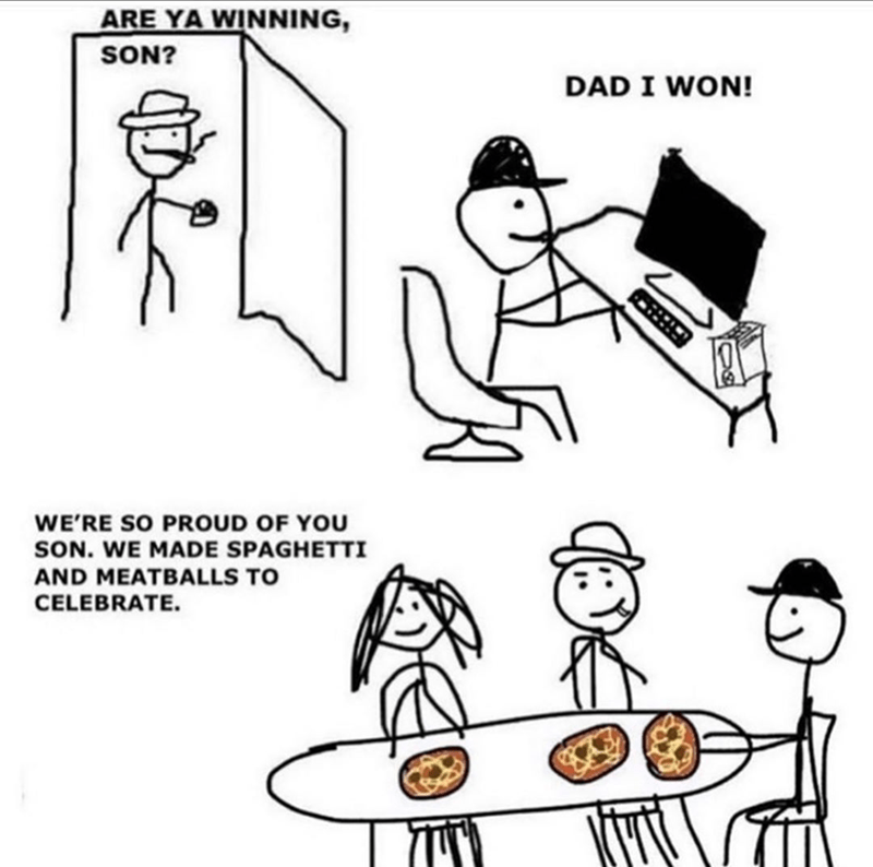 Funny 'are ya winning son' meme about family celebrate gaming win by eating meatballs.
