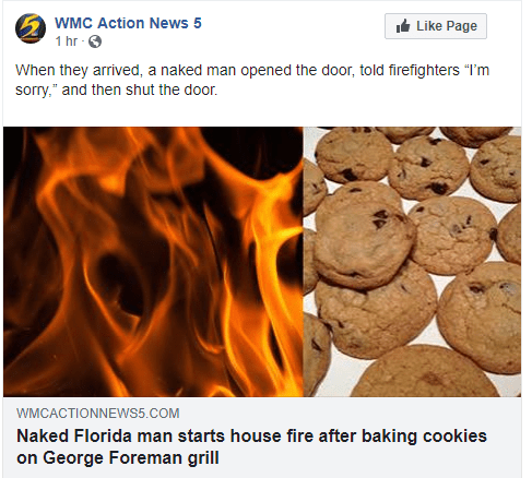"Text - WMC Action News 5 It Like Page 1 hr O When they arrived, a naked man opened the door, told firefighters ""I'm sorry,"" and then shut the door. WMCACTIONNEWS5.COM Naked Florida man starts house fire after baking cookies on George Foreman grill"