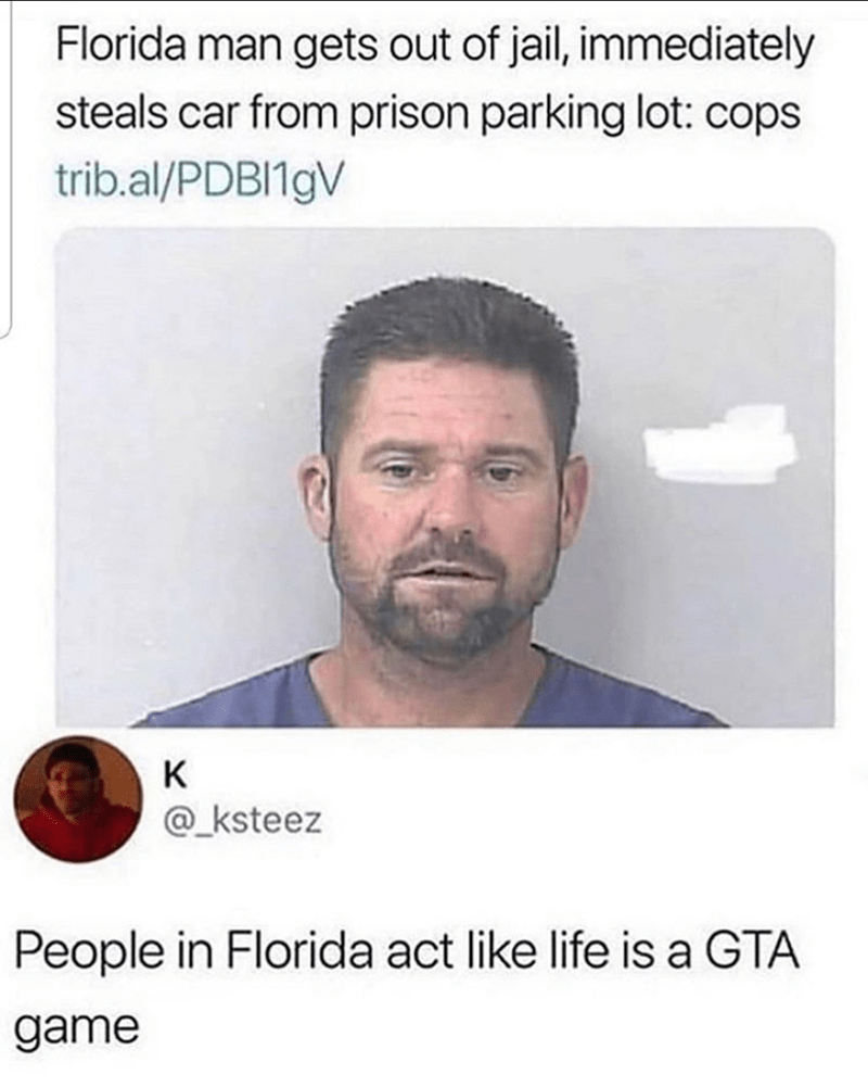 Face - Florida man gets out of jail, immediately steals car from prison parking lot: cops trib.al/PDBI19V K @_ksteez People in Florida act like life is a GTA game