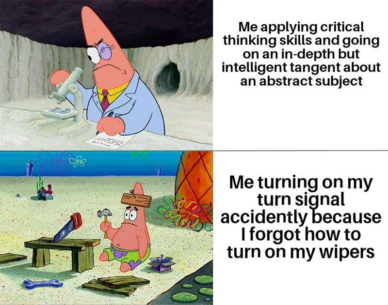 Cartoon - Me applying critical thinking skills and going on an in-depth but intelligent tangent about an abstract subject Me turning on my turn signal S accidently because I forgot how to turn on my wipers