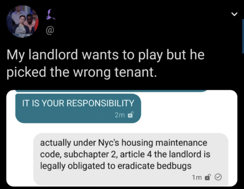 Text - My landlord wants to play but he picked the wrong tenant. IT IS YOUR RESPONSIBILITY 2m d actually under Nyc's housing maintenance code, subchapter 2, article 4 the landlord is legally obligated to eradicate bedbugs 1m d