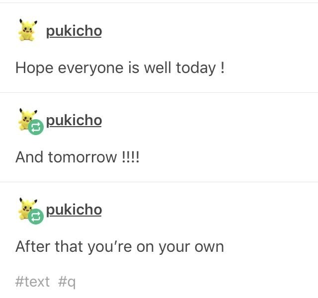 Text - pukicho Hope everyone is well today ! pukicho And tomorrow !!!! pukicho After that you're on your own #text #q