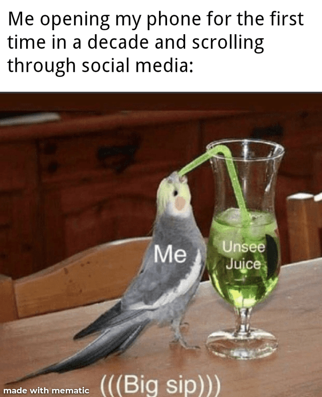 Bird - Me opening my phone for the first time in a decade and scrolling through social media: Me Unsee Juice (((Big sip))) made with mematic