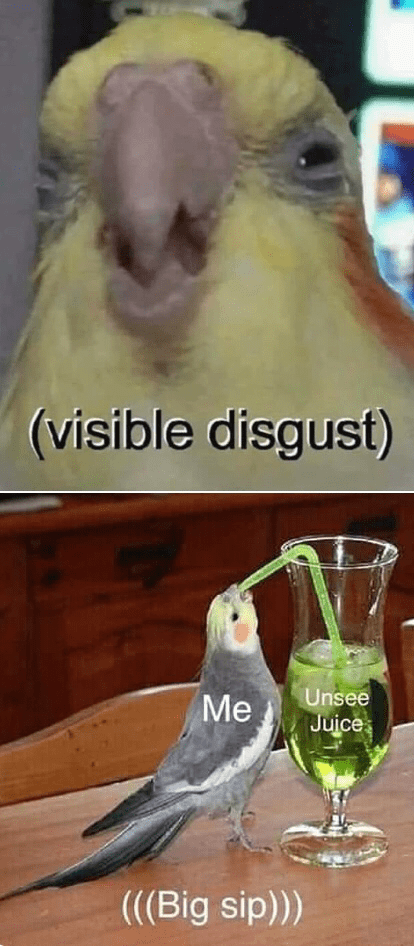 Bird - (visible disgust) Me Unsee Juice (((Big sip)))