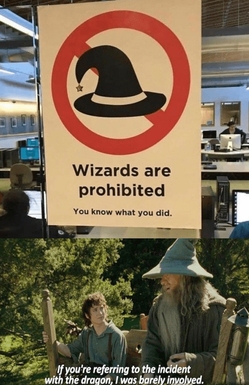 Signage - Wizards are prohibited You know what you did. If you're referring to the incident with the dragon, I was barely inyolved.