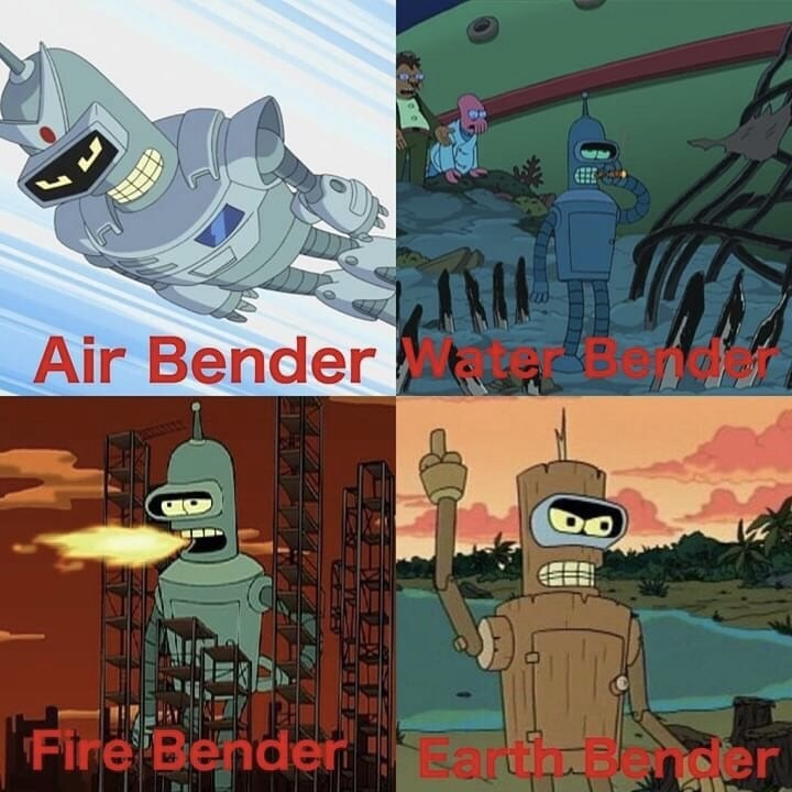 Cartoon - Air Bender Fire BenderEartheder