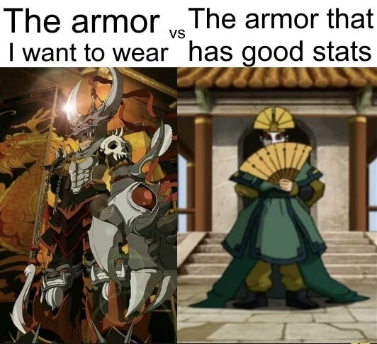 Cartoon - The armor ve The armor that I want to wear has good stats Vs