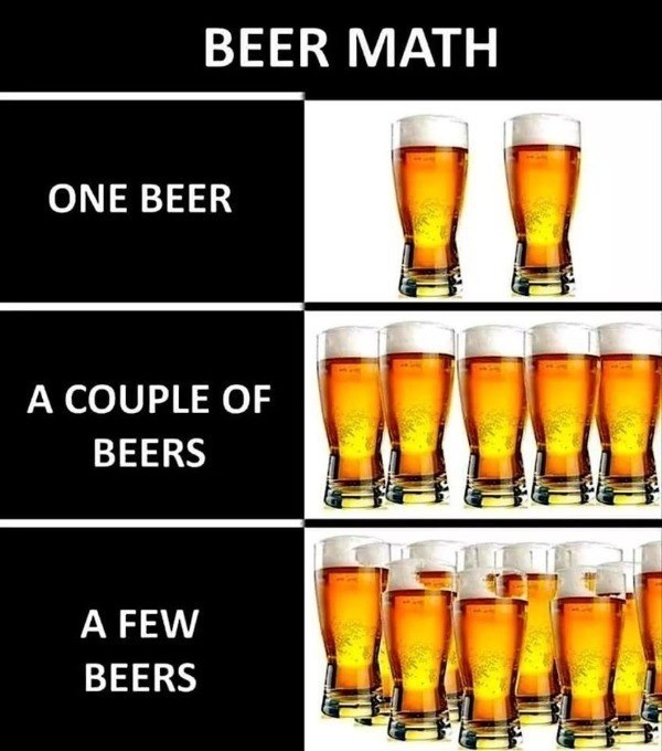 Beer glass - BEER MATH ONE BEER A COUPLE OF BEERS A FEW BEERS