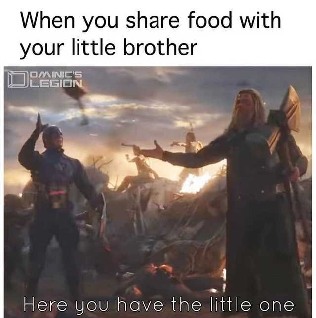 Adaptation - When you share food with your little brother OMINIC'S LEGION Here you have the little one
