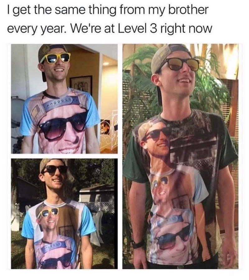 Eyewear - I get the same thing from my brother every year. We're at Level 3 right now