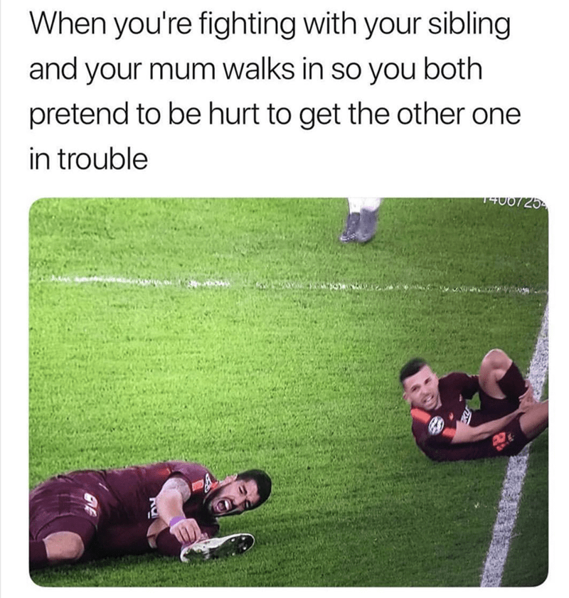Text - When you're fighting with your sibling and your mum walks in so you both pretend to be hurt to get the other one in trouble